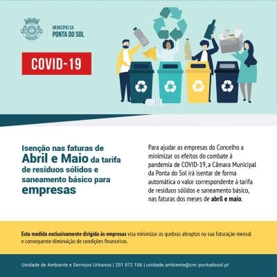Isenção das tarifa de resíduos sólidos e saneamento básico | Apoio municipal