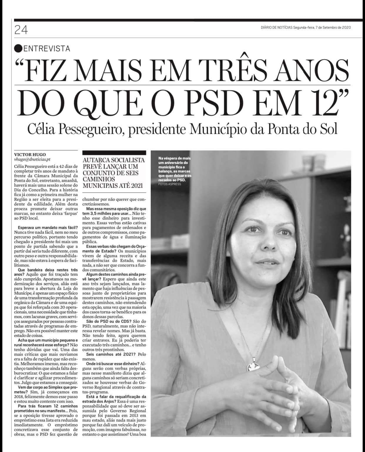 Entrevista à Presidente de Câmara Municipal, Célia Pessegueiro | clipping