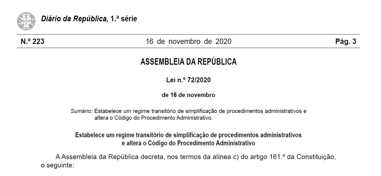 Divulgação da Lei n.º 72/2020