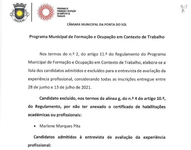 Lista de candidatos selecionados e respetivos suplentes do Programa de Formação e Ocupação em Contexto de Trabalho | projetos 5, 6, 7, 8 e 9