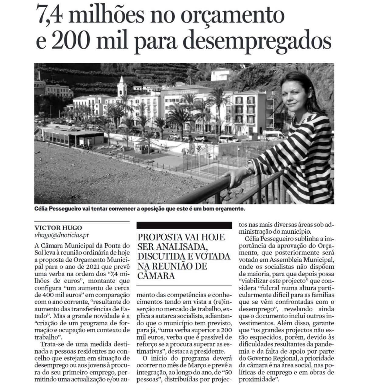 Ponta do Sol | Proposta de orçamento 2021