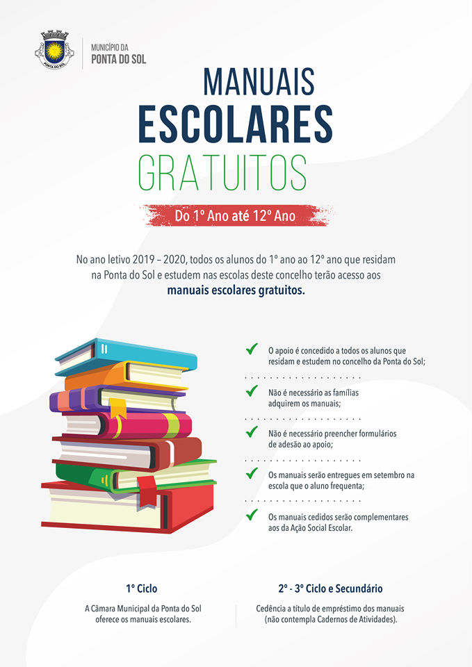 Manuais escolares grátis a todos os alunos para o ano letivo 2019/2020