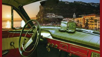 Exposição carros clássicos na marginal da Ponta do Sol